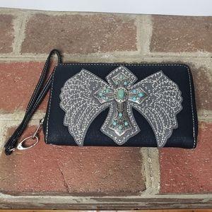 Montana West cross angel wings western wallet